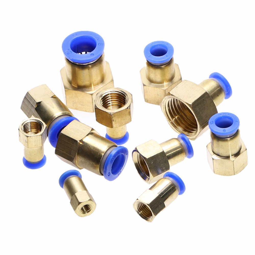 Mangueira 4 MILÍMETROS 6 MM 8 MM 10 MM 12 MM Pneumáticos Conector Fittings 1/8 ''1/4'' 3/8'' 1/2 ''rosca Fêmea Push In Encaixe de Tubulação De Ar conjunta