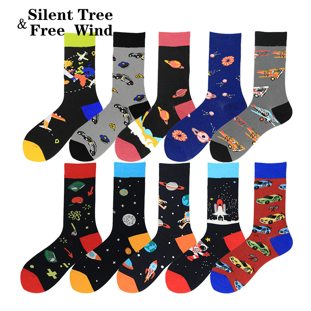Men's Colorful Cool Socks Funny Harajuku Hip Hop Space Plane Star Earth Astronaut Car Dress Casual Sock Big Sox