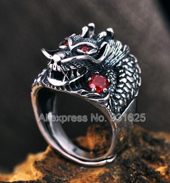 100% réel 925 argent Sterling sculpté tête de Dragon Vintage anneau ouvert S925 solide Thai argent anneaux rétro Punk charme bijoux de mode
