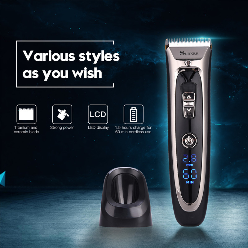 Surker Professional Rechargeable Portable Hair Clipper Electric Hair Trimmer Adjustable LED Display Hair Cutting Machine Men surker model rfc 688b electric foil hair trimmer for men with clean