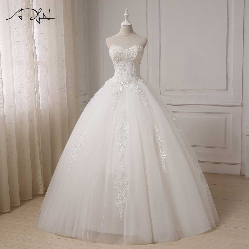 ADLN Real Pictures Ball Gown Bridal Dress Vintage Applique Plus Size  Wedding Dress Princess Floor Length Lace-up