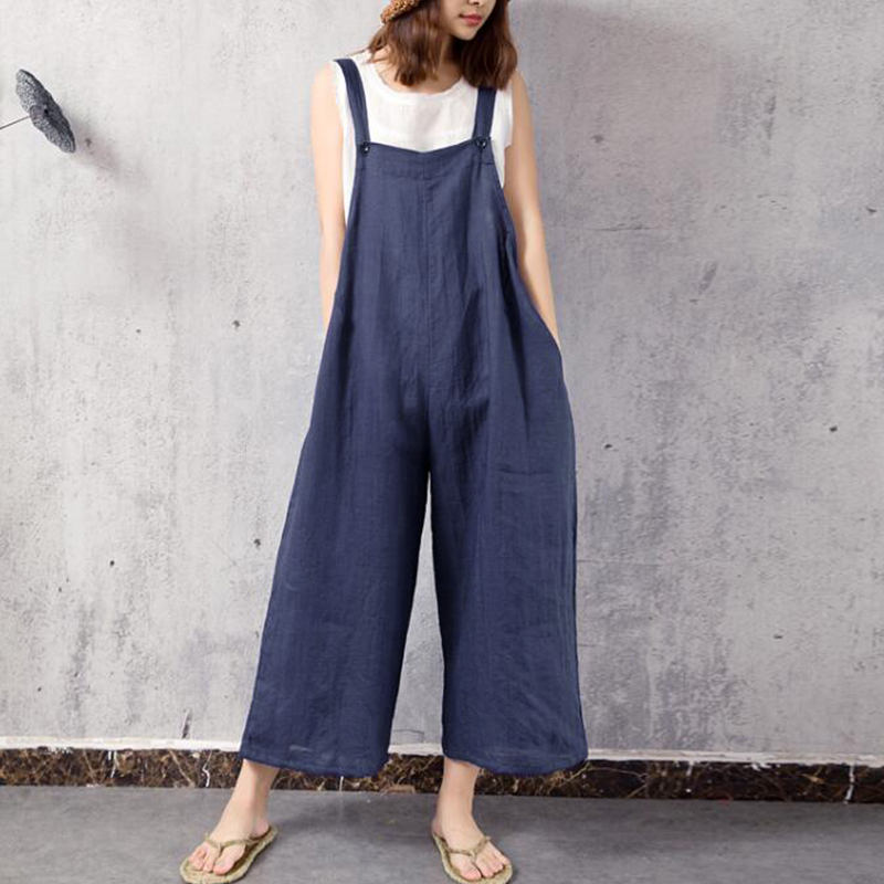 Strap Jumpsuit Romper Women Elegant Cotton Wide Leg Summer Sexy Jumpsuit 2018 Casual Long Overall Jumpsuit Bodysuit Plus Size