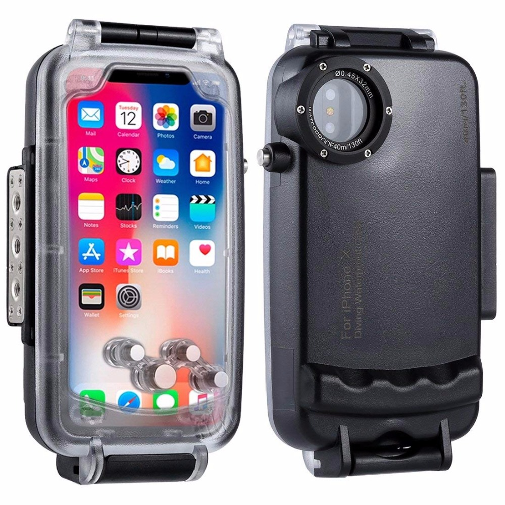Водонепроницаемый чехол для iPhone x 40 м/130ft IP68 Водонепроницаемый дайвинг полный герметичный защитный подводный Корпус чехол для iPhone X