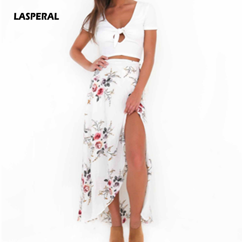 LASPERAL Hot Sale Women Summer Casual Beach Long Skirt White Floral Print Irregular Split High Waist Female Maxi Skirt Bottoms