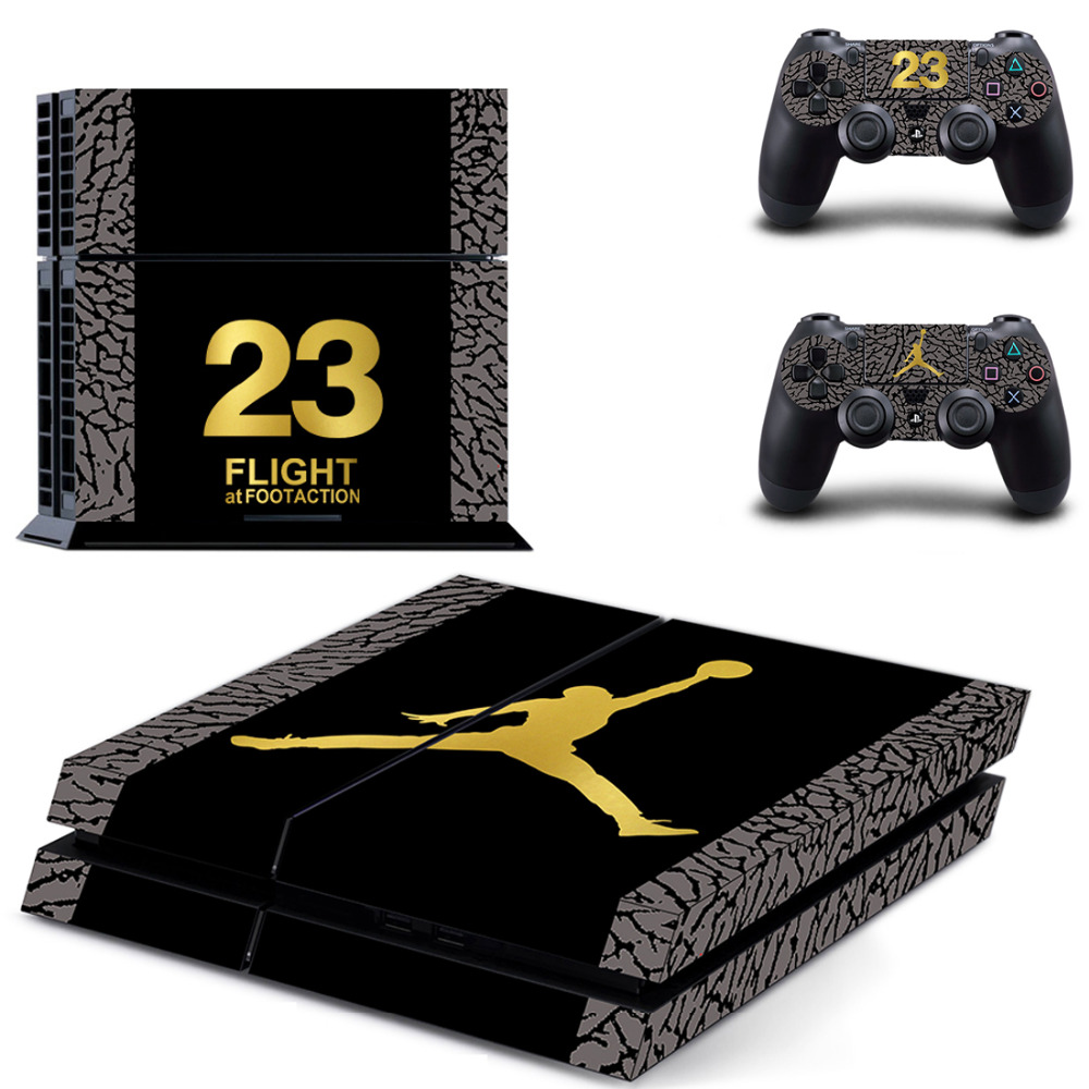 OSTSTICKER Classical Protector Vinyl Sticker For PS4 Console Protector Film And 2pcs Controller Skins For PS4