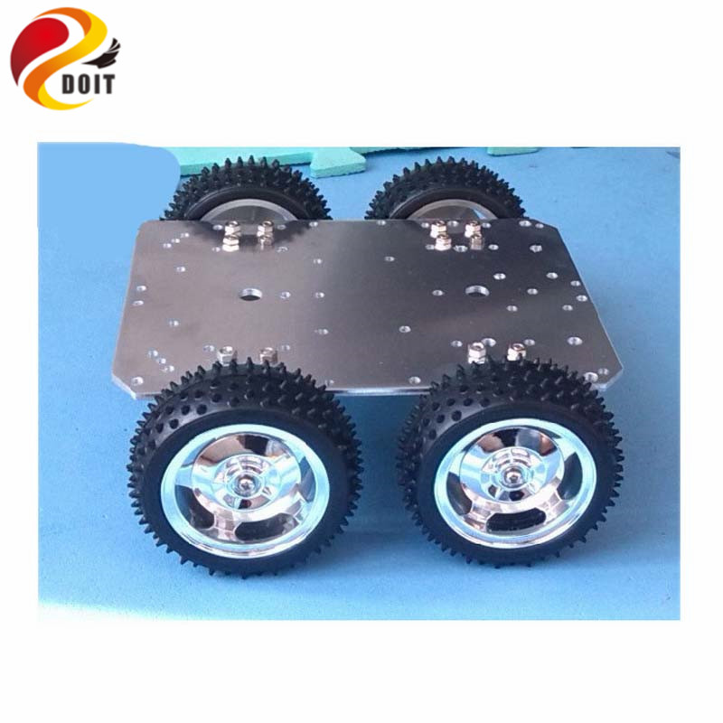 Official DOIT Intelligent RC Car Chassis 4WD 25mm Motor 85mm Wheel Aluminum Alloy Robot UNO R3  Raspberry Pi Patrol Kit IR 2 wheel drive robot chassis kit 1 deck