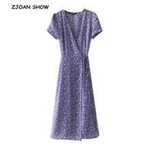 Vestido cruzado francés con cuello en V y estampado Floral 2018 para mujer con lazo corte de cintura largo medio ajustado Fit vestidos de verano 2 colores