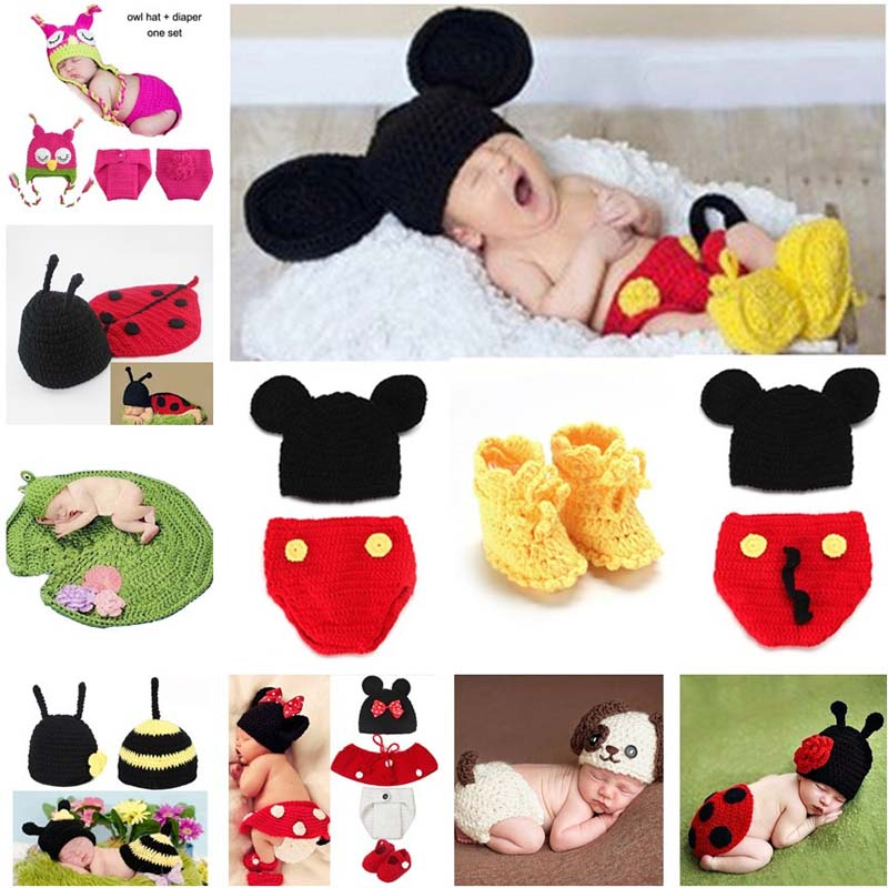 Animal Design Neonato Fotografia all'uncinetto Puntelli Handmade Knit Mickey Costume Outy Sleepy Owl Frog Baby Gift SG058