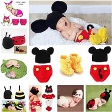 Animal Design Newborn Baby Crochet Photography Props Handmade Knit Mickey Costume Outfit Sleepy Owl Frog Baby Gift SG058 цена