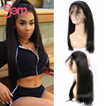 360 Lace Frontal Closure Peruvian Virgin Hair Straight 1B Full Lace Frontal Closure With Baby Hair Peruvian Straight Virgin Hair