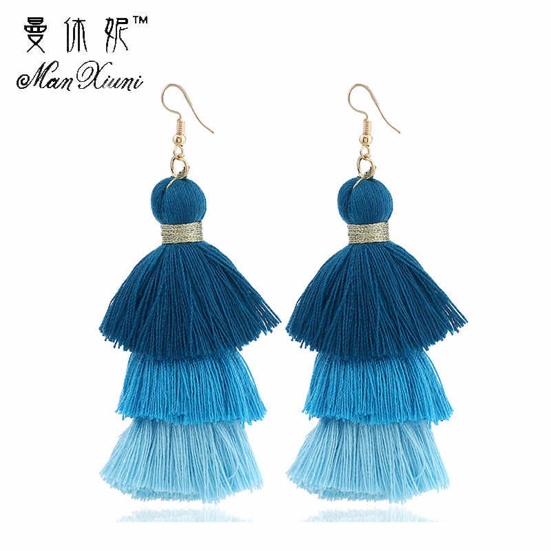 3 Layered Bohemian Fringed Cheap Statement Tassel Earrings High Quality Brand Fashion Women Drop Dangle Earring Jewelry