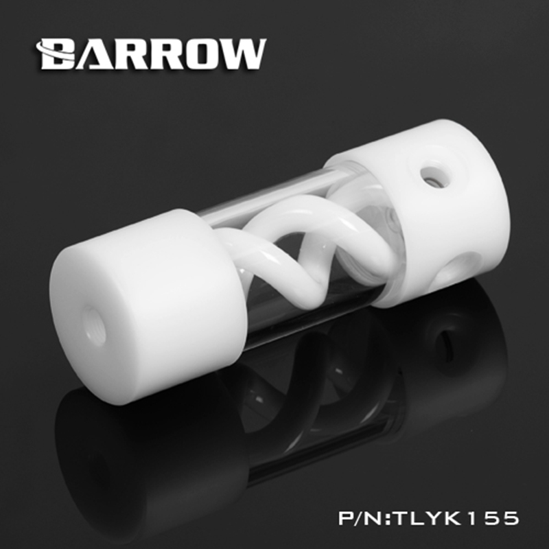 Barrow T Virus Helix Suspension Cylinder Water Tank 155mm White With White Cap Water Cooling  Reservoir TLYK155 barrow 155mm x 50mm double helix t virus cylindrical water cooled coolant tank light system pom pmma white cover 5 color tlyk155