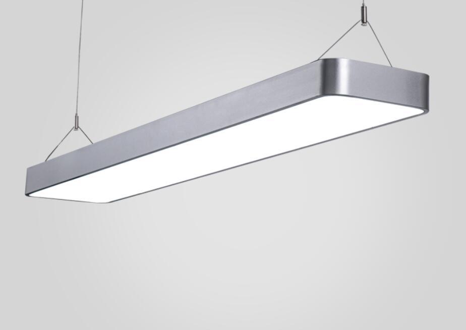 Iluminação de escritórios modernos arredondado LEVOU escritório de luz pingente de fio de alumínio retangular simples moderna iluminação comercial BG5 - 2