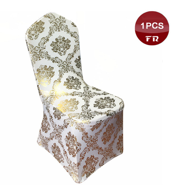 Holiday Decorative Chair Covers Wicker Outdoor Chairs Melbourne 2017 New Fashion Printed Gold Metallic Bronzing Removable Spandex Stretch Of Party Celebration Home Decor