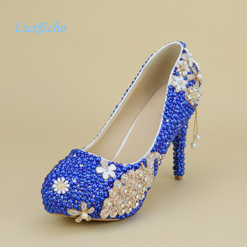 New royal blue pearl wedding shoes and bags sets womens high new royal blue pearl wedding shoes and bags sets womens high heels platform shoes woman party dress shoe with matching bag in womens pumps from shoes on junglespirit Image collections