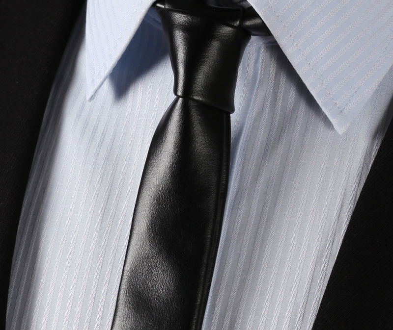 LET2 Black Leather Tie Casual Classic Fashion Skinny Slim Solid Men Necktie