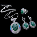 HENSEN New Fashion Turkish Jewelry Big Oval Pendant Necklace Set Enamel And Green Resin Vintage Silver Plated Jewellery Sets