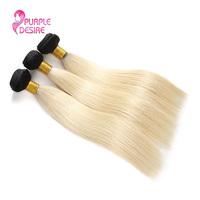 Фиолетовый Desire 3bundles Ombre индийские прямые волосы 1b 613 Человеческие волосы ткань 2 Tone-русый 12-30 дюймов не волосы Remy дважды утка