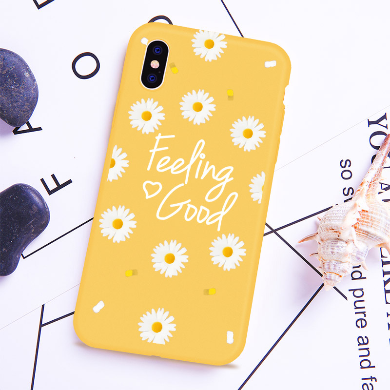 Pattern Floral Cute Daisy Phone Case For iPhone 5 5s SE XS MAX XR 6 6S Plus Yellow Soft silicone Phone Cover For iPhone 8 7 african daisy