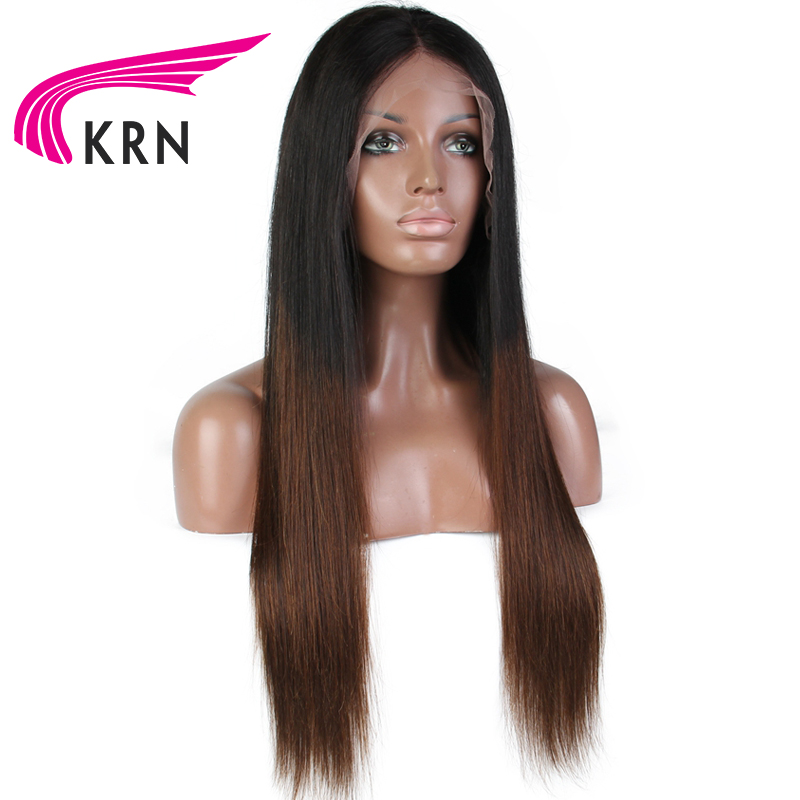 KRN Fake Scalp Wig Straight 13x6 Lace Front Human Hair Wigs pre plucked180% Density Brazilian Remy Human Hair Wigs Middle Ration