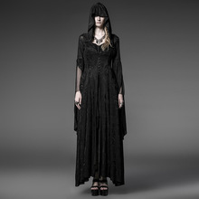 Steampunk knitting jacquard vintage famale gothic long hooded dress cultivate one's morality show thin witch dresses