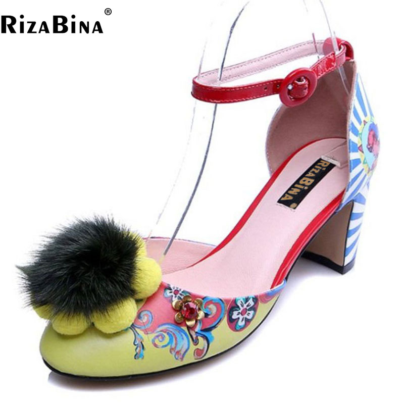 RizaBina Size 34-43 Vintage Women Real Leather High Heel Sandals Women Bownot Flower Thick Heel Sandal Summer Party Women Shoes new summer sandal high heel women thick bottom female sandals casual shoes fashion leather sandal comfortable sweet cute woman