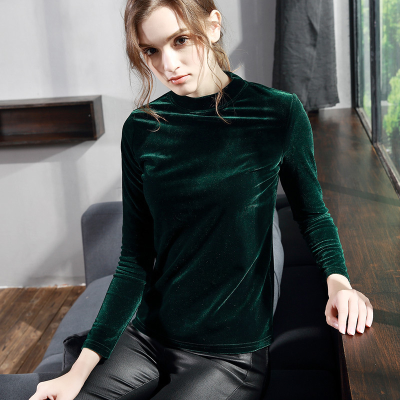 d9a3366759a55 Women Velour T Shirt Plus Size 2018 Autumn Winter Hot Fashion Turtleneck  Velvet Shirt Female Long Sleeve Slim Tops T shirts-in T-Shirts from Women s  ...
