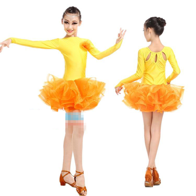 Girls Yellow / Red  Professional Latin Dancing Dress Kids Ballroom Salsa Dance Wear Outfits Children's Party Stage Wear Costumes