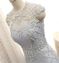 Echt Bild Grau Farbe Kurze Formale Abendkleider 2017 Atemberaubende abend formale kleider bestickte stoffe für abendkleider