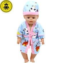 d5e01429e9c94 Bébé Vêtements de Poupée de Bande Dessinée Panda Imprimer Pyjamas chemise  de Nuit + Chapeau Fit 43 cm Bébé Poupée Accessoires Dr..