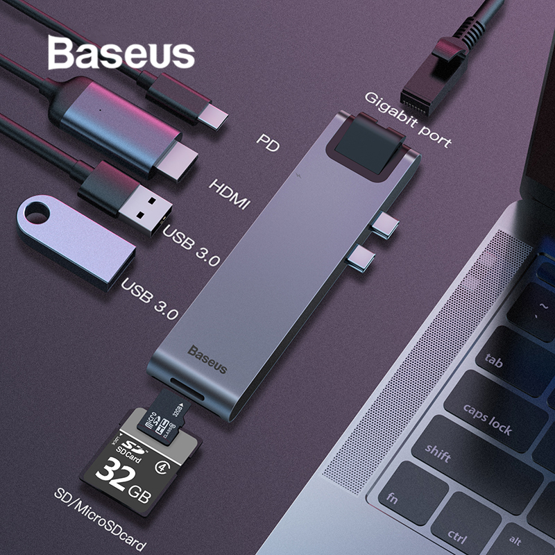 Baseus USB C HUB To Multi USB 3.0 HDMI USB HUB For MacBook Pro USB Splitter 7 Ports Thunderbolt 3 HUB RJ45 Dual USB Type C HUB(China)