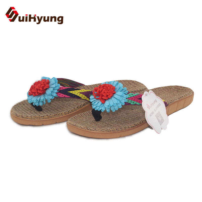 Suihyung Healthy Linen Slippers Women Non-slip Home Slippers Flowers Indoor Shoes Summer Beach Flat Slippers Flip-flops Sandals coolsa women s summer striped linen slippers breathable indoor non slip flax slippers women s slippers beach flip flops slides