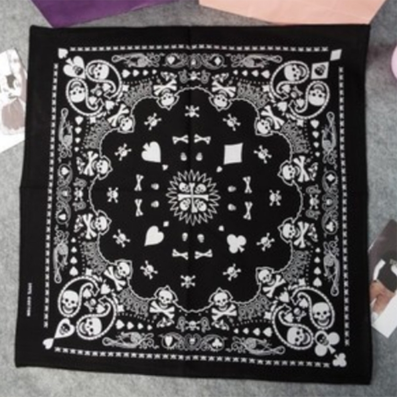 Men's Accessories Black Skull Bandana Gothic Headwear Hair Accessories Band Scarf Neck Wrist Headtie Fashion Men Women Bandana Dropshipping High Quality