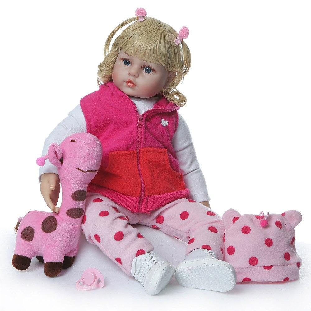 Nicery 23 24 นิ้ว 58 60 ซม. Bebe Reborn ตุ๊กตาซิลิโคนอ่อนเด็กของเล่นตุ๊กตาเด็กทารก Reborn ตุ๊กตาของขวัญเด็กสีบลอนด์หยิกยีราฟสีชมพู-ใน ตุ๊กตา จาก ของเล่นและงานอดิเรก บน   1