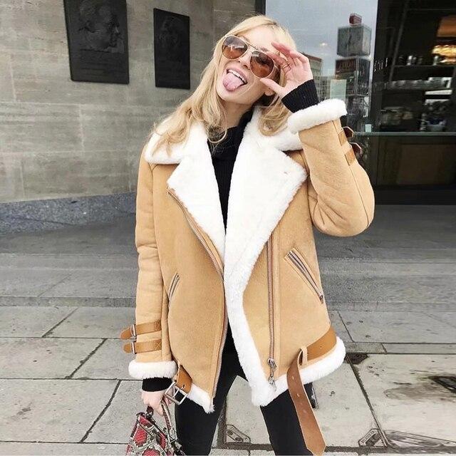 Для женщин Зимние Замшевые кожаная куртка Для женщин утолщаются овечьей шерсти овчины мотоциклетная куртка негабаритных дамы ветровка бай...
