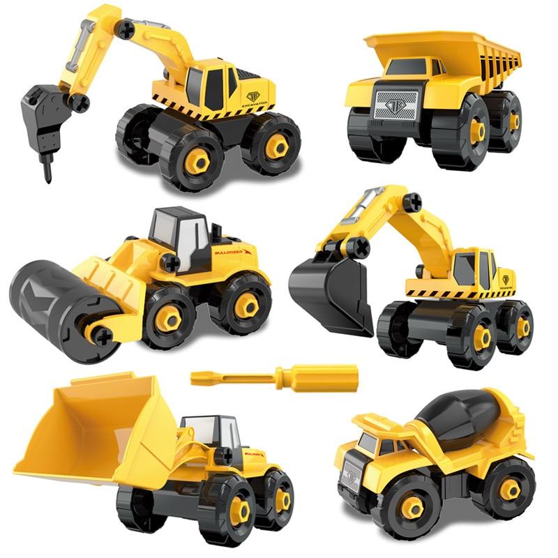 Screw Toy Montessori DIY Blocks Screw Nut Assembly Cement Truck Excavating Vehicle Model Toy Kid Gift