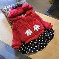 Da criança Do Bebê Dos Miúdos Meninas Roupas de lã arco casaco jaqueta + dot saia tutu set, 1-4y meninas Roupas Set, crianças outwear outono inverno