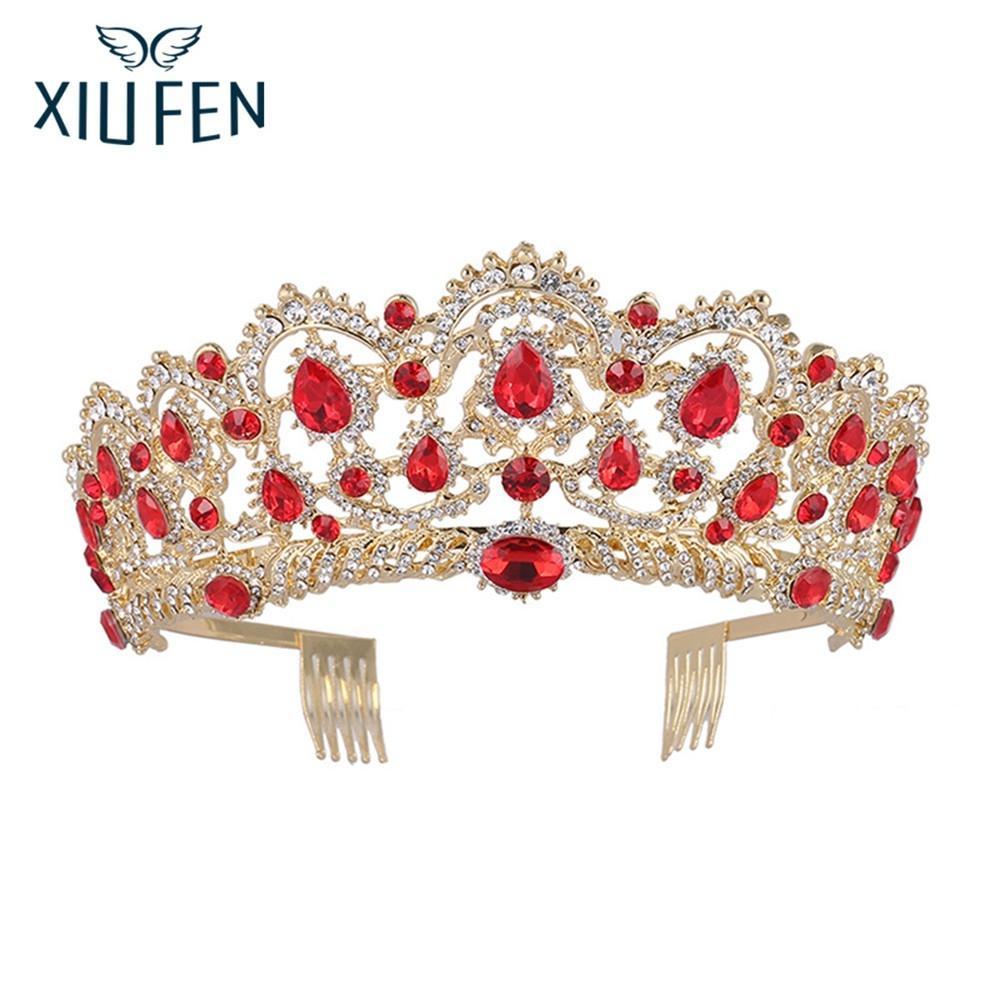 XIUFEN Charming Elegant Rhinestone Crown Bridal Tiara Wedding Hair Accessories