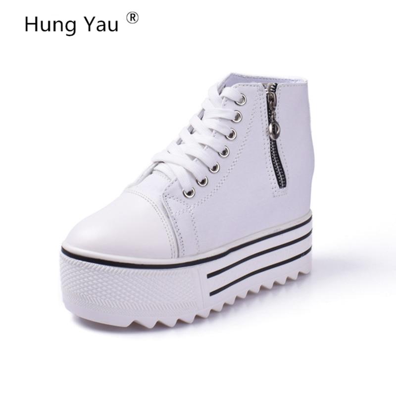 Модная женская текстильная обувь Классические высокие Стиль плоской подошве однотонные увеличивающие рост обувь на молнии брендовая дыша...