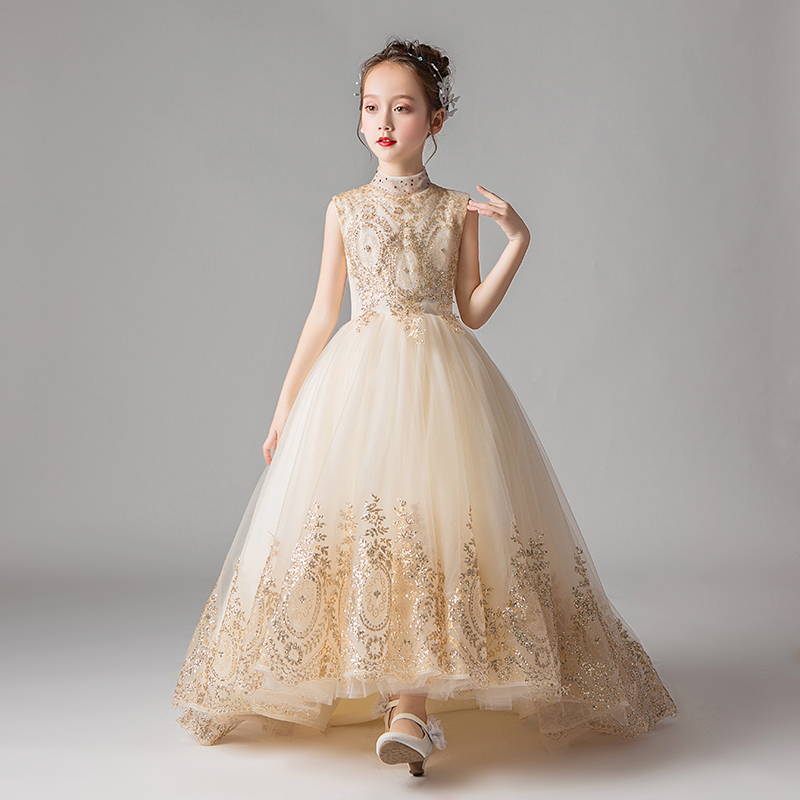 Girls dress sequins paillette beaded tulle wedding party princess dress for kids girls evening formal dresses vestido infantil