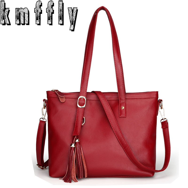 KMFFLY Women Brands Sheepskin Designer Female Handbag Tassels Shoulder Bag Sac Luxury Women Messenger Bags Handbags Leather Bag