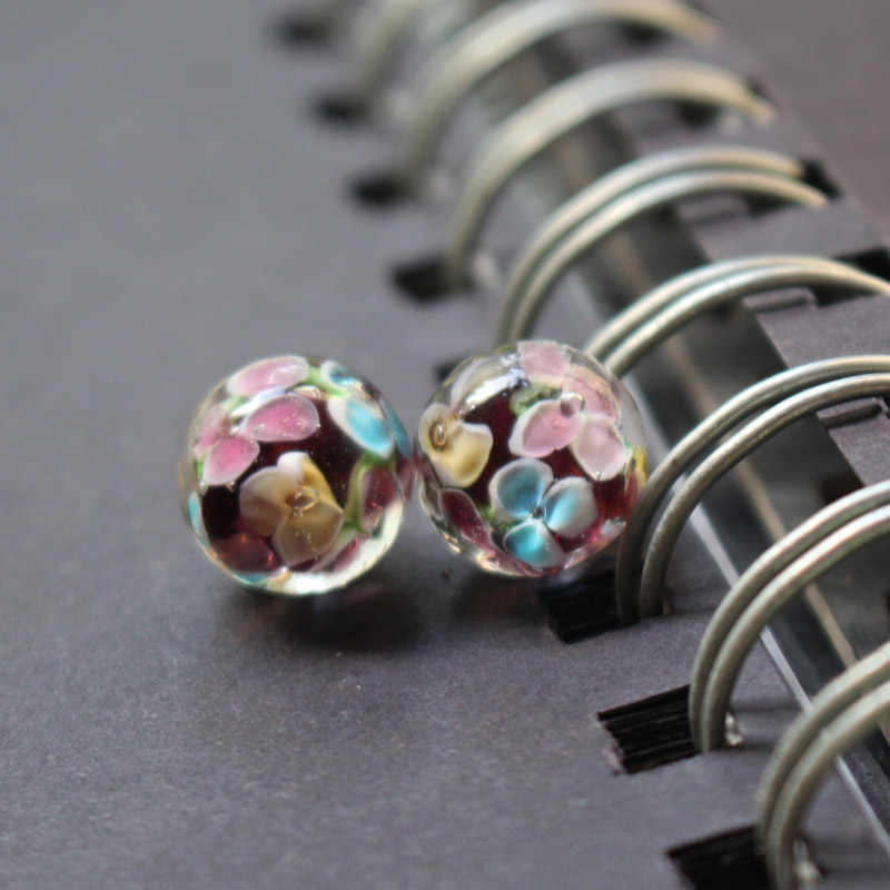 10Pcs 12mm Handmade Glass lampwork beads Flower Simply Purple Color   for jewelry making Wholesale and Retail