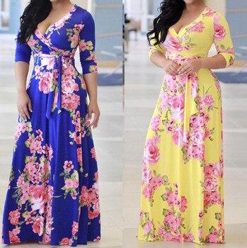 3251bb8deb9 2019 Новая Осенняя модная брендовая одежда женская цветочная Бохо длинное  платье макси Вечеринка пляжный Сарафан платье vestido mujer verano