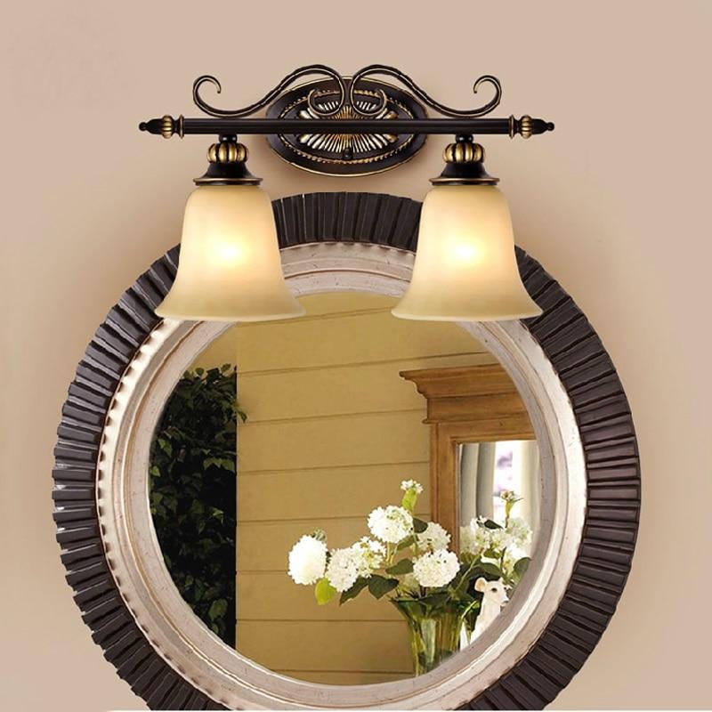 retro waterproof bathroom bathroom mirror lamp European iron mirror double iron wall lamp glass lamp Wall Lamps FG11