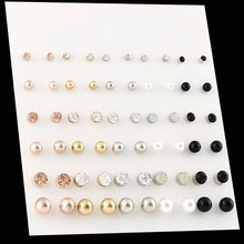 OATHYAN 30 Pairs/set Classic Women's Round Ball Metal Pearl Earrings For Women Girl Gifts Crystal Stud Earring Sets Mix Jewelry(China)