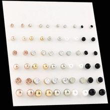 OATHYAN 30 Pairs set Classic Womens Round Ball Metal Pearl Earrings For Women Girl Gifts Crystal Stud Earring Sets Mix Jewelry cheap Stud Earrings Fashion E0219-1 Rhinestone Zinc Alloy Push-back 30 Pairs Stud Earrings Sets Mix Round Ball Acrylic Pearl Metal Rhinestone