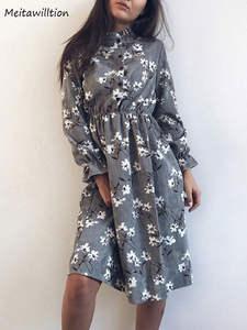 Female Dress Flower-Print Vestidos Long-Sleeve Winter High-Elastic Casual Women Waist