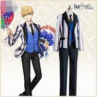 Anime Fate/Grand Thứ Tự 2 Kỷ Niệm Saber Arthur Pendragon Cosplay Costume Coat + Vest + Quần + Áo + Cho Tie + Vớ Hoạt Hình Hiển Th