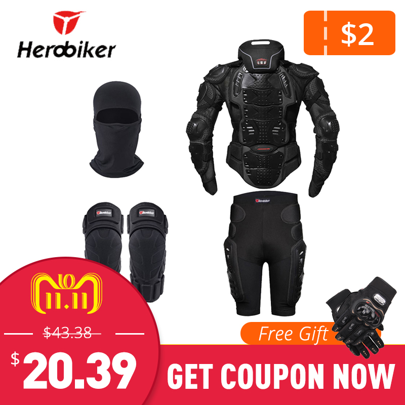 HEROBIKER Motorcycle Jacket Protection Body Armor Motocross Moto Jacket Protective Gear Motorcycle Jackets With Neck Protector недорго, оригинальная цена