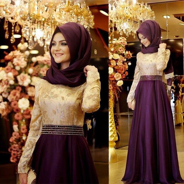 3d4dd3b6ecad7 2017 Arapça Akşam Önlük Elbiseler Kadın Kaftan Dubai Türban Abiye Aplikler  Saten Uzun Kollu Müslüman Abiye
